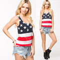 2015 New Sexy USA Flag Design Summer Vest Tank Top Sleeveless American flag Tops Loose Casual Women's Clothing Free Shipping
