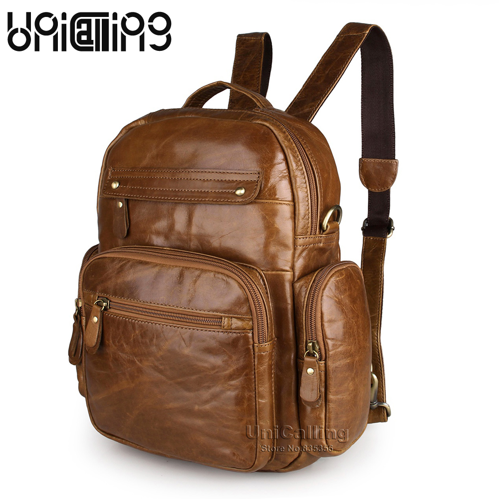 UniCalling fashion vintage unisex men women leather backpack small leisure real cow leather backpack quality genuine leather bag men backpack leather fashion real cow leather backpack for men leisure men genuine leather 14 laptop backpack safe back zipper