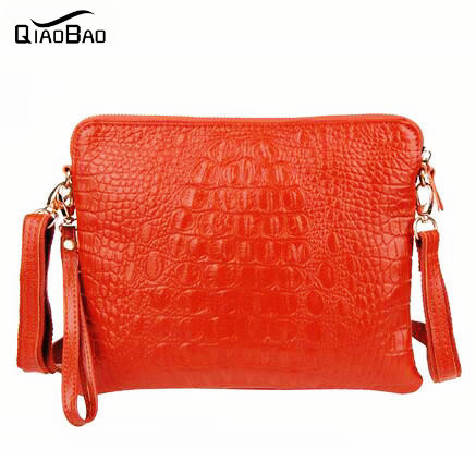 QIAO BAO 100% Genuine Crocodile leather Clutch Bags female handbag vintage candy color fashion bags Leather bags women bag