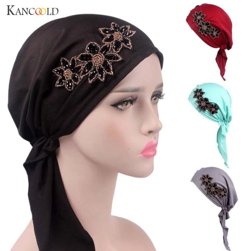 2017 New Women Fashion Jewelry Patchwork Velvet Muslim Turban Hats Indian Caps Wrap Cap Women Cancer Chemo Hats For Women AU30