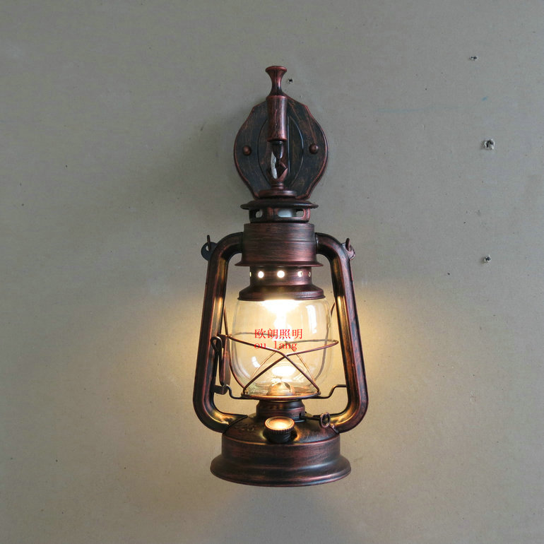 Fashion antique Wall lights wrought iron vintage lantern kerosene lamp wall lamp lamps-in Wall ...