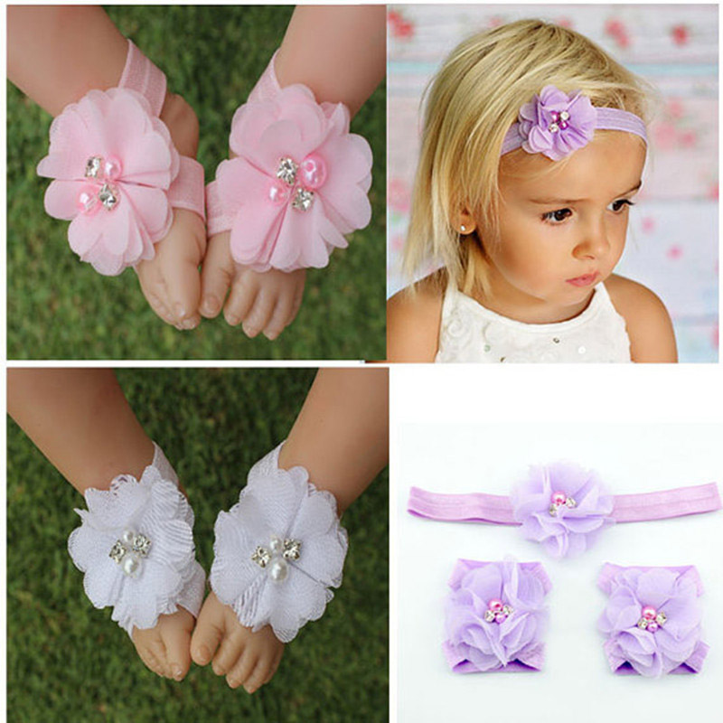 Children's Beautiful Chiffon Flower Headband Baby Girl Flower Foot Head Sandal Set Kids Head Bands Children Hair Accessories