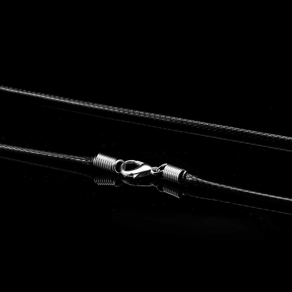 Mężczyźni naszyjnik PU skóra naszyjnik łańcuch dla kobiet czarny ręcznie pleciony sznur wisiorek łańcuch biżuteria długość liny 40-90 cm