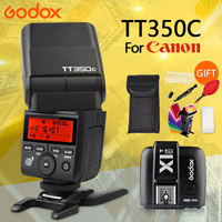 GODOX TT350C for Canon camera 2.4G HSS 1/8000s TTL GN36 Flash Speedlite + X1T C trigger + GIFT