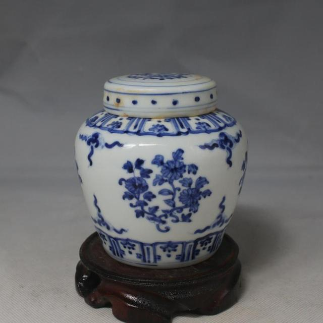4 Antique Mingdynasty Porcelain Pot Blue White Flower Jar Hand Painted Crafts