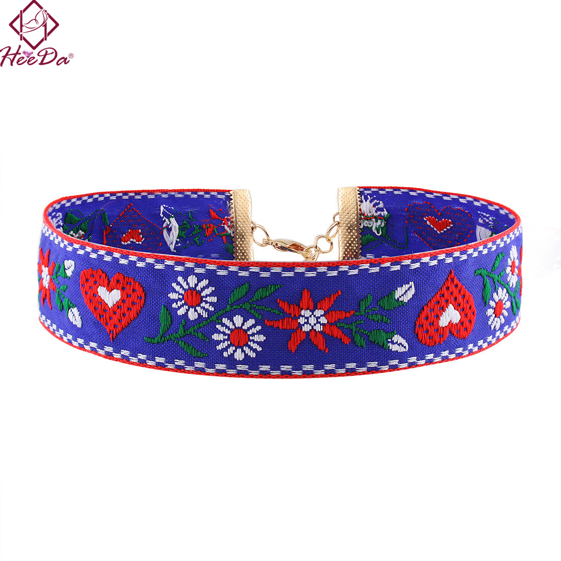 Heeda 2018 New Hot-selling Unique Embroidering Women Necklace Jewelry Retro Style Ethnic Elegant Handcraft Woven Cloth Choker