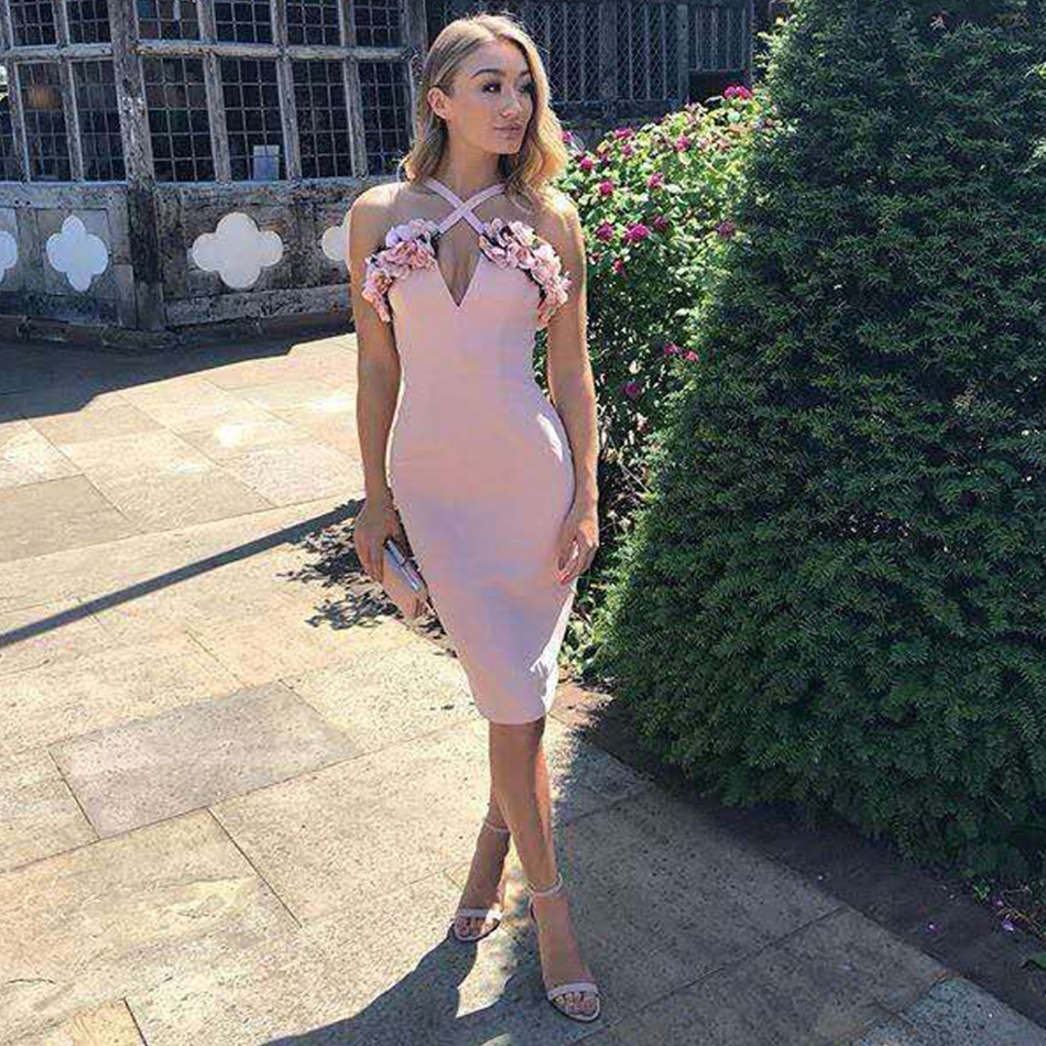Adyce 2020 New Summer Women Pink Floral Bandage Dress Vestidos Celebrity Evening Party Dress Ruffles Spaghetti Strap Club Dress