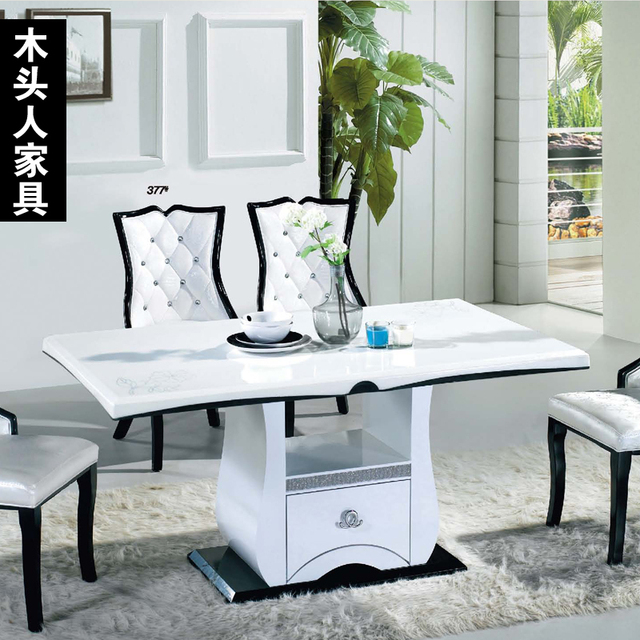 korean highgrade wooden furniture white marble dining table eight long dinner table and