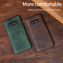 Genuine Leather cases for Galaxy s10 plus shockproof back cover Samsung Real Horse skin leather 10lite