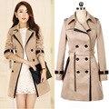 2016 nuevo invierno mujeres trench coat coat con cinturón casual escudo de la mujer de moda femenina al por mayor cazadora CT149