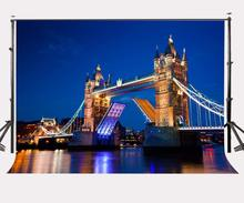 150x220cm London City Night View Backdrop Bridge Photography Background Outdoor Shooting Props