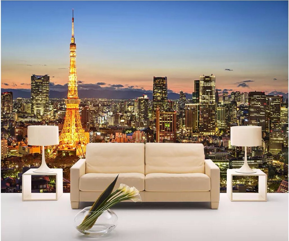 Us 1504 46 Offcustom Mural 3d Photo Wallpaper Famous Night View Of Paris Night View Room Home Decor 3d Wall Murals Wallpaper For Wall 3 D In