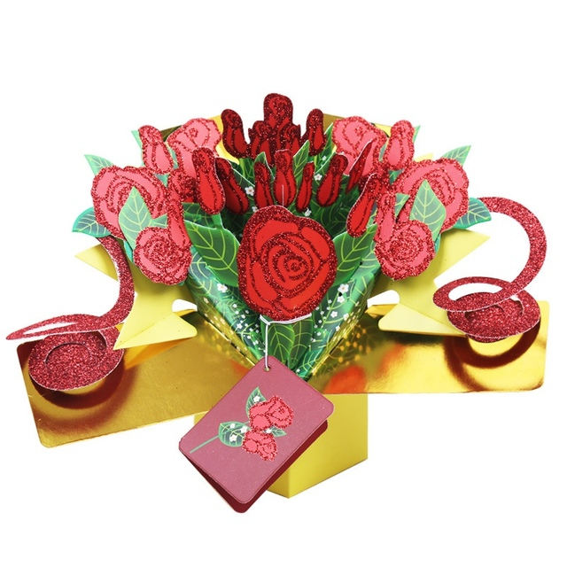 3d fantastic pop up greeting cards flower handmade gift nature love with bunch of roses happy - Happy Birthday Cards Flowers