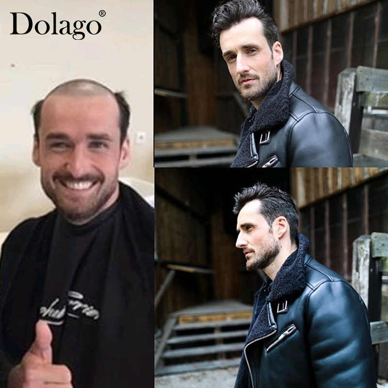 """Fine Mono Center With PU Durable Thin Skin Men Toupee 8X10"""" 1B Color Repacement Hair Prosthesise HD Transparent Dolago"""