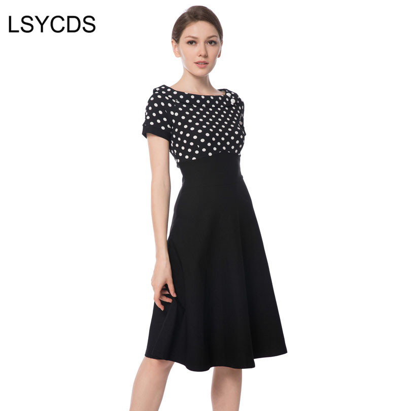 LSYCDS Lady 50s 60s Vintage Dress Slash Neck Patchwork Big Swing Rockabilly Pinup Ball G ...