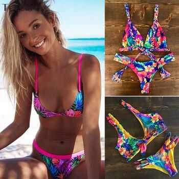 ccf63e777cbd Traje de baño mujer cintura alta negro blanco rayado Bikini vendaje  brasileño Bikinis Push Up ...