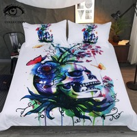 Candid by Pixie Cold Art Bedding Set Skull Duvet Cover Set Plant Butterfly Colorful Bedclothes Watercolor Floral Home Textiles