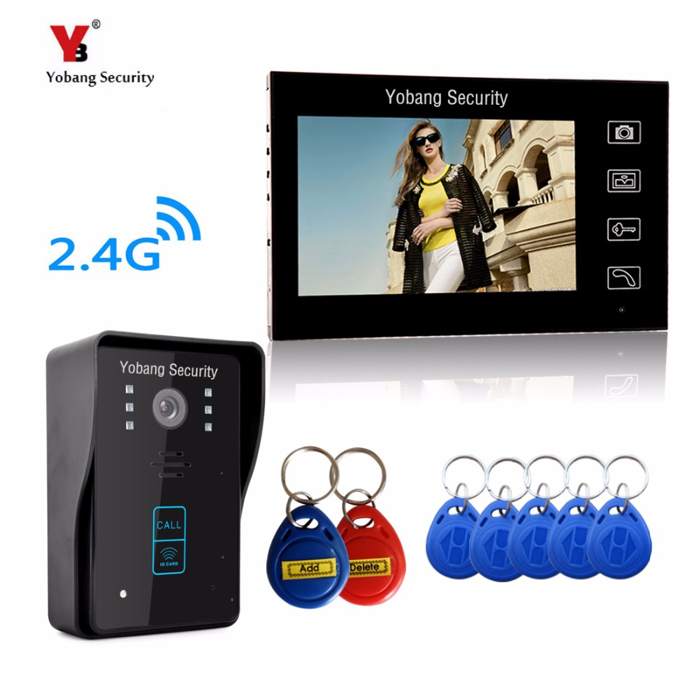YobangSecurity 2.4G 7 TFT LCD Wireless Video Door Phone Doorbell Wireless Phone Intercom 1 camera 1 Monitor With RIFD Keyfobs yobangsecurity video door intercom entry system 2 4g 9 tft wireless video door phone doorbell home security 1 camera 2 monitor