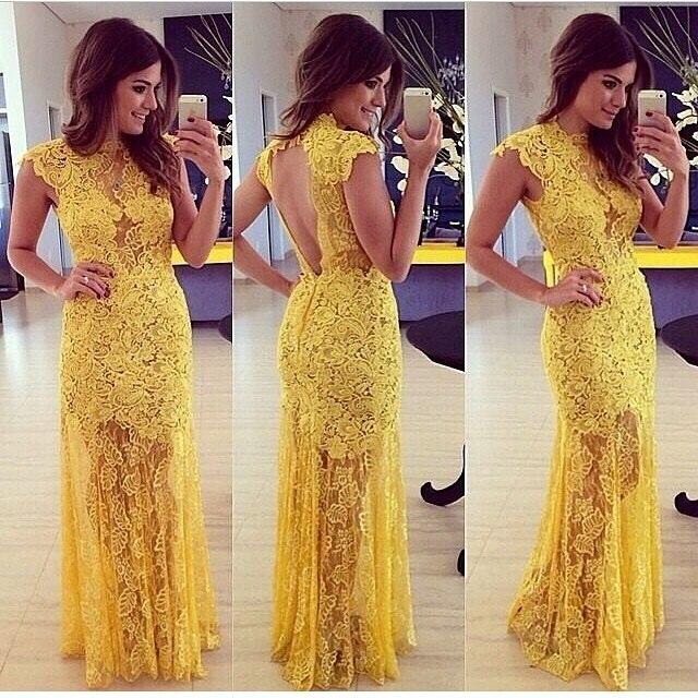 4222c22fc7 Elegant yellow lace Prom dress Mulheres moda vestido de baile renda amarela  elegante vestidos de festa