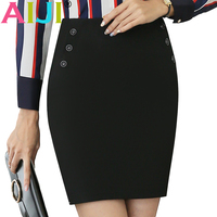Spring Summer Women Black Straight Skirt Ol Formal Office Ladies Button Decoration Work Business Plus Size