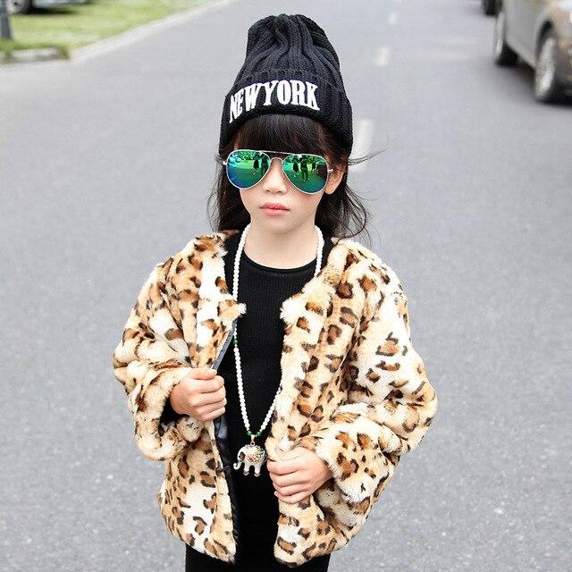 860b4e7ae8e9 2018 autumn and winter child leopard print short design wool ...