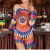 2019 Summer Casual Hollow Out Bikini Beach Cover Up Fishnet Crochet Beach Dress Women Swimwear Beach Wear Pareo Saida De Praia 1