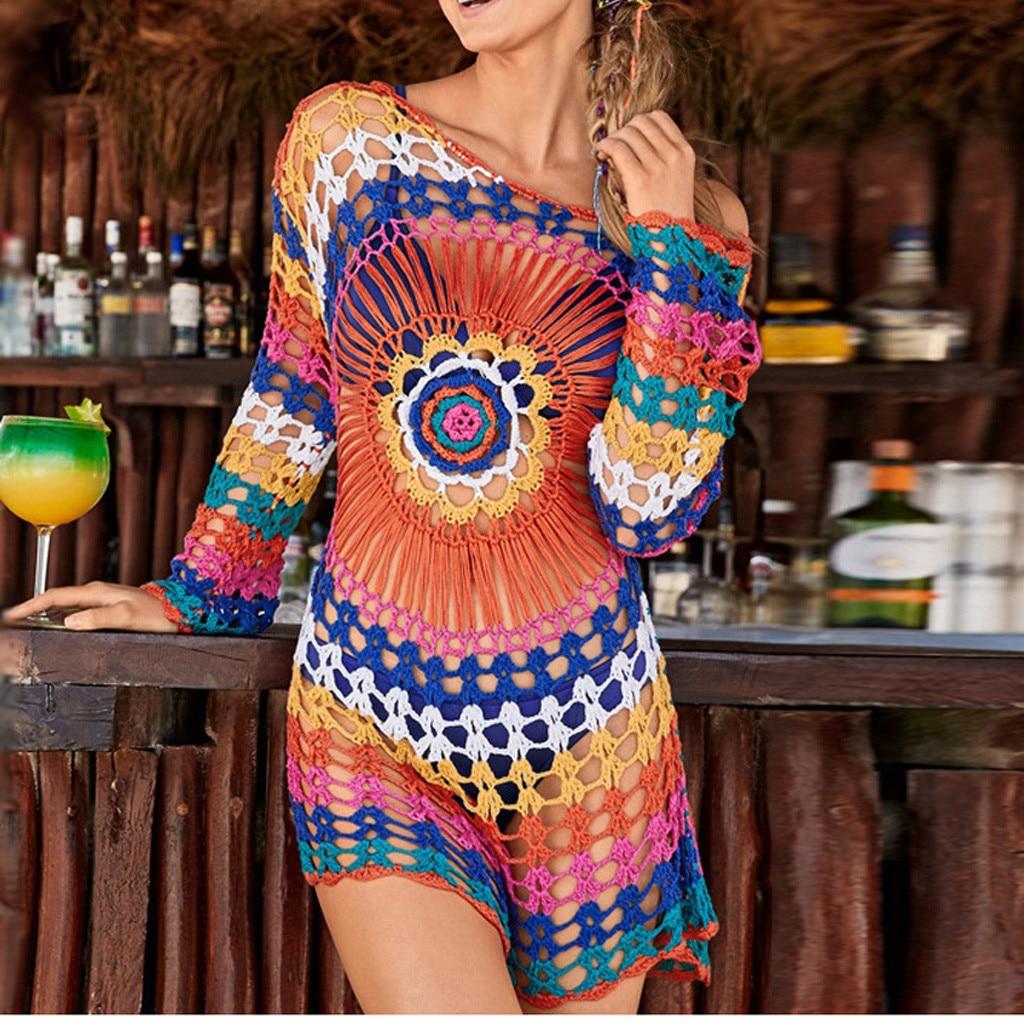 2019 Summer Casual Hollow Out Bikini Beach Cover Up Fishnet Crochet Beach Dress Women Swimwear Beach Wear Pareo Saida De Praia