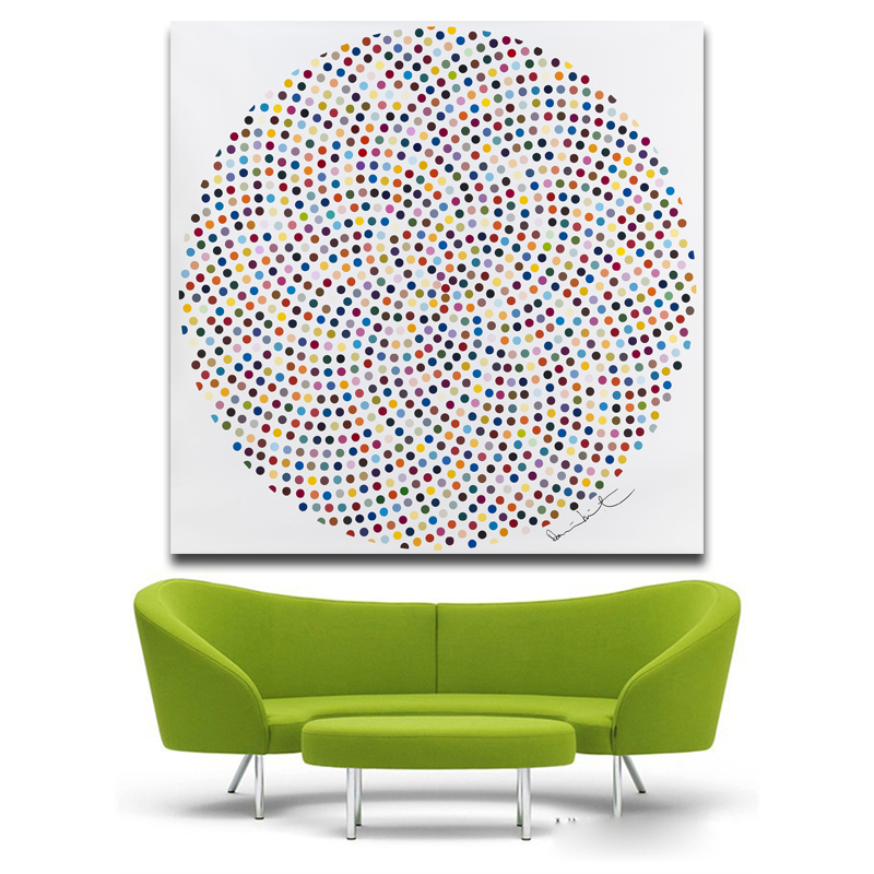 No Frame Modern Circle Painting Include Many Colorful Dots Art Pictures Printed Canvas Painting Wall Art Picture For Livingroom