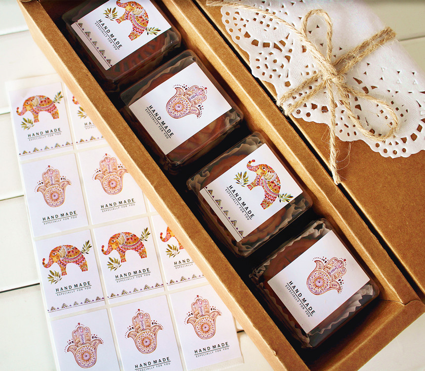 120pcs Indian style Sticker hand made Paper Adhesive sticker as Food Wedding packing Label Gift Decoration Tag image