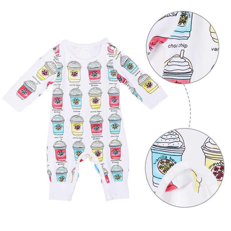 Newborn Baby Rompers Cute Toddler Baby Girl Boy Ice Cream Print Jumpers Rompers Playsuit Outfits Clothes 0-24M