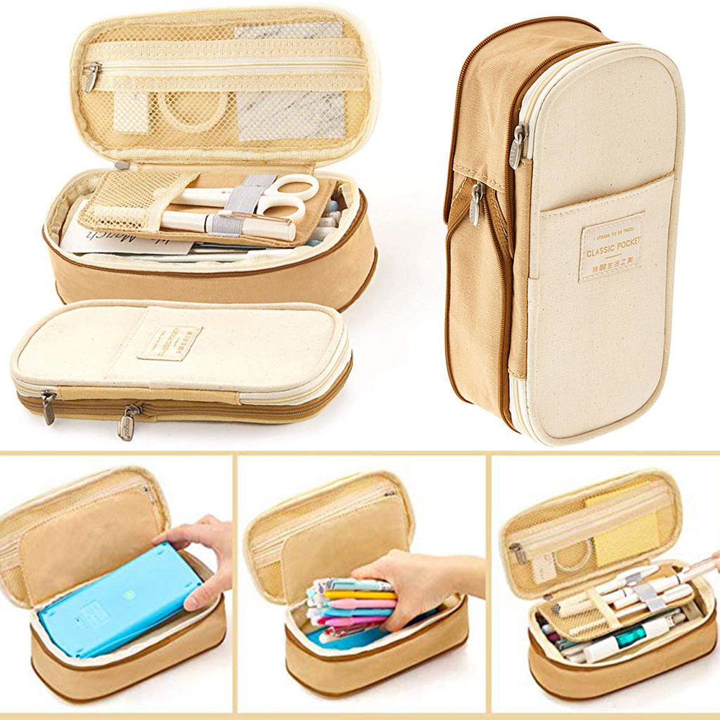 Image 5 - 2019  Storage Organizer Canvas Large Capacity Bag Holder Storage Bags Case Multifunctional Zipper School Portable Pencil Case-in Storage Bags from Home & Garden