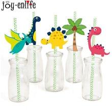 JOY-ENLIFE 36pcs/bag Dinosaur Paper Straws Jungle Safari Birthday Party Disposable Drinking Dino Cartoon Animal