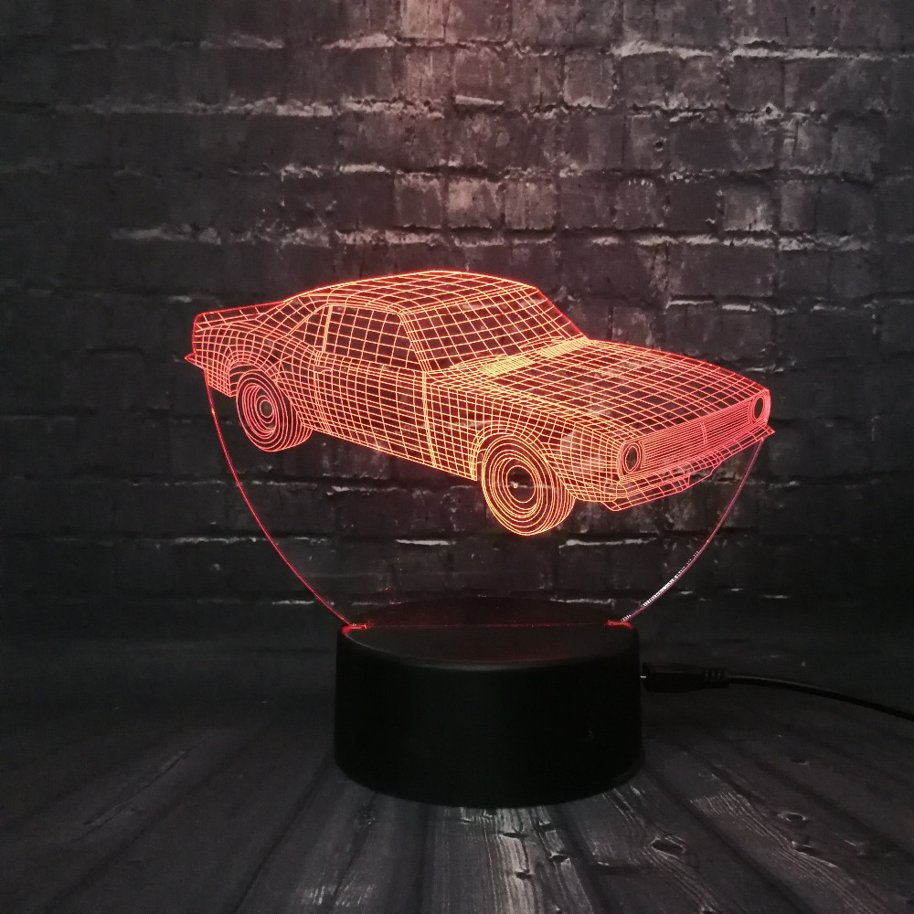Hot SALE Cuba Retro Animation Cool Car 3D USB LED Lamp Car-Styling - Night Lights - Photo 1