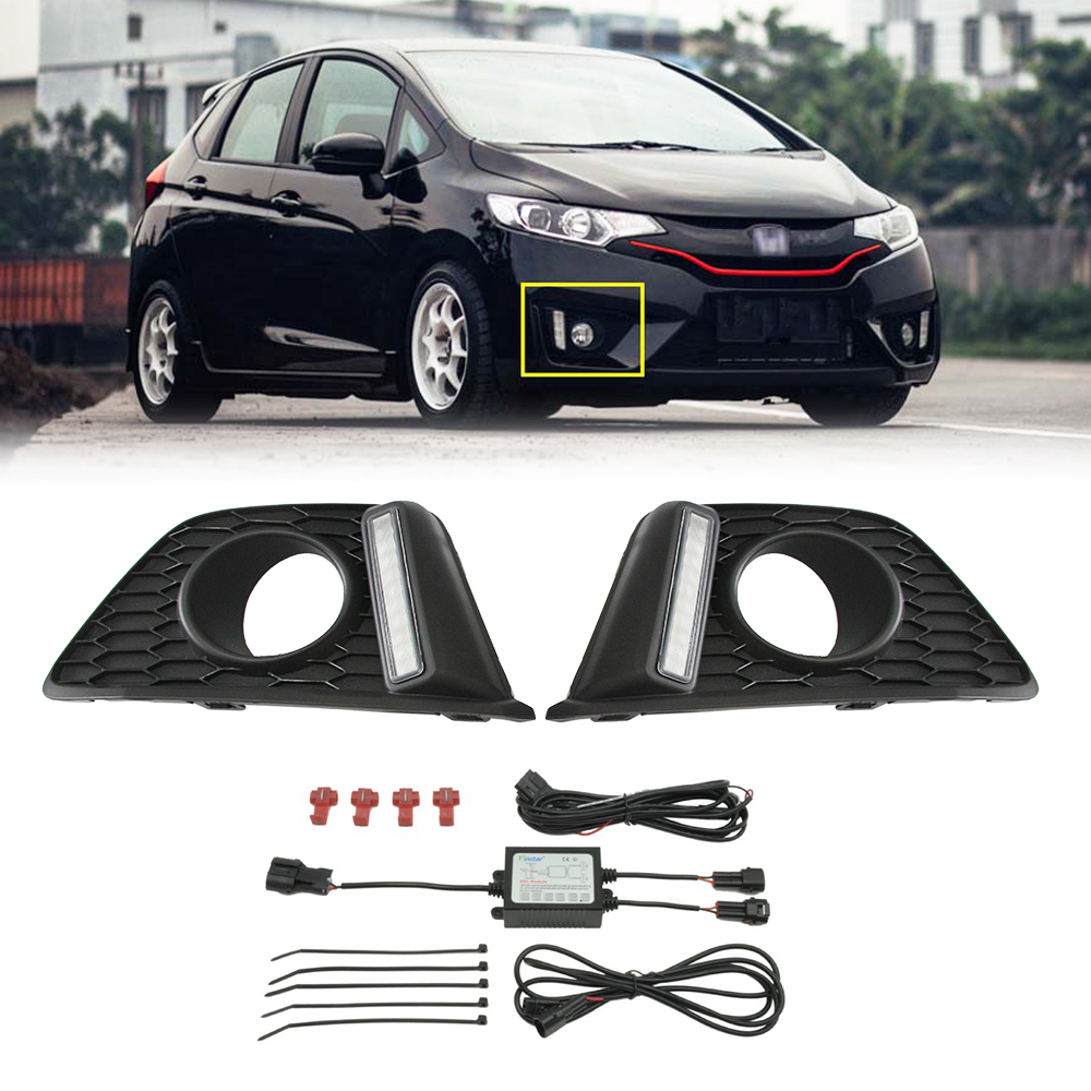 For Honda Fit Jazz 15~ Front Bumper Driving Fog Light LED DRL Daytime Running Lights Daylight Driving light with fog lamp for honda crosstour 2013 2014 h11 wiring harness sockets wire connector switch 2 fog lights drl front bumper 5d lens led lamp
