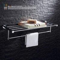 Все медные Ванная комната полки, двойной полотенце Для ванной вешалка для полотенец Ванная комната сантехники Расширенный Полотенце Рычаг