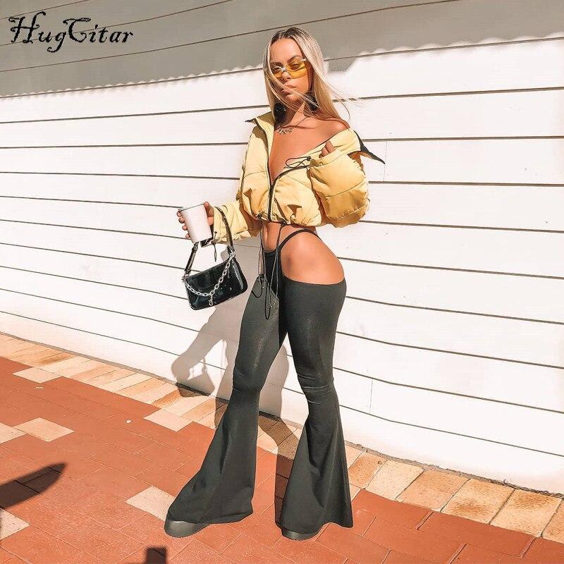 Hugcitar cintura alta calado agujero largo flare sexy leggings 2018 Otoño Invierno mujeres moda bodycon negro pantalones sólidos