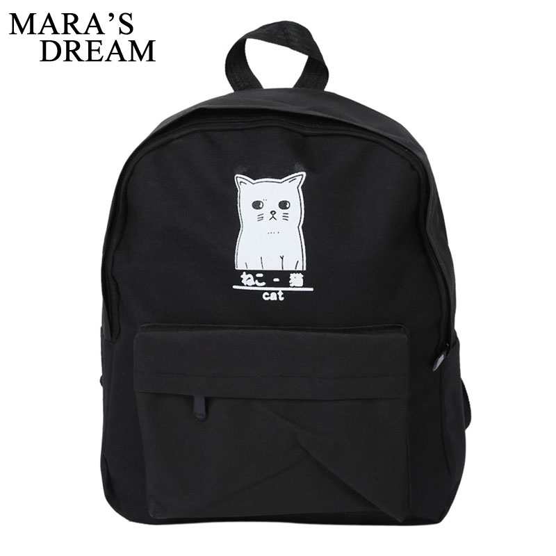 Mara's Dream Women Backpack Cat Print Canvas School Bags For Teenager Girls Preppy Style Rucksack Cute Book Bag Mochila Feminina aelicy luxury pu leather backpack women preppy style school bags women rucksack travel satchel bags mochila feminina women bag
