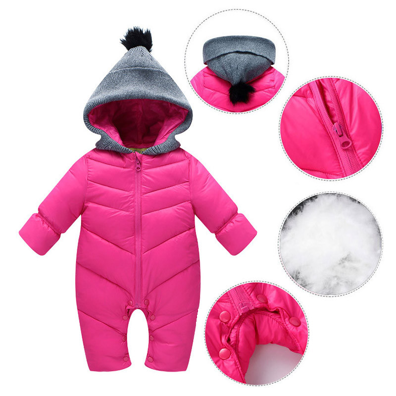 5755b8713a55 Baby Rompers Enhanced jumpsuit Solid Color Hooded Keep Warm duck ...