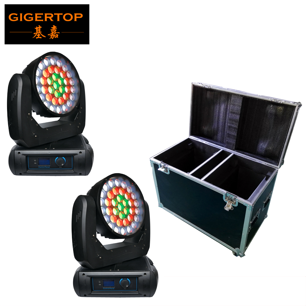 Shockproof 2in1 Flightcase Pack 2 Unit 37x12W RGBW 4in1 Cree LED Zoom Moving Wash Light LCD Display