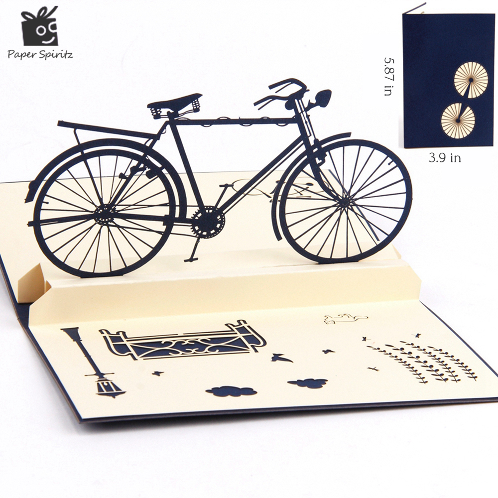 3D pop up handmade laser cut vintage cards Vintage bike creative gifts postcard birthday greeting cards for lovers creative gifts 3d pop up card greeting