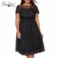 Nemidor Women Elegant Short Sleeve Retro Lace Patchwork A Line Dress O Neck Plus Size Party