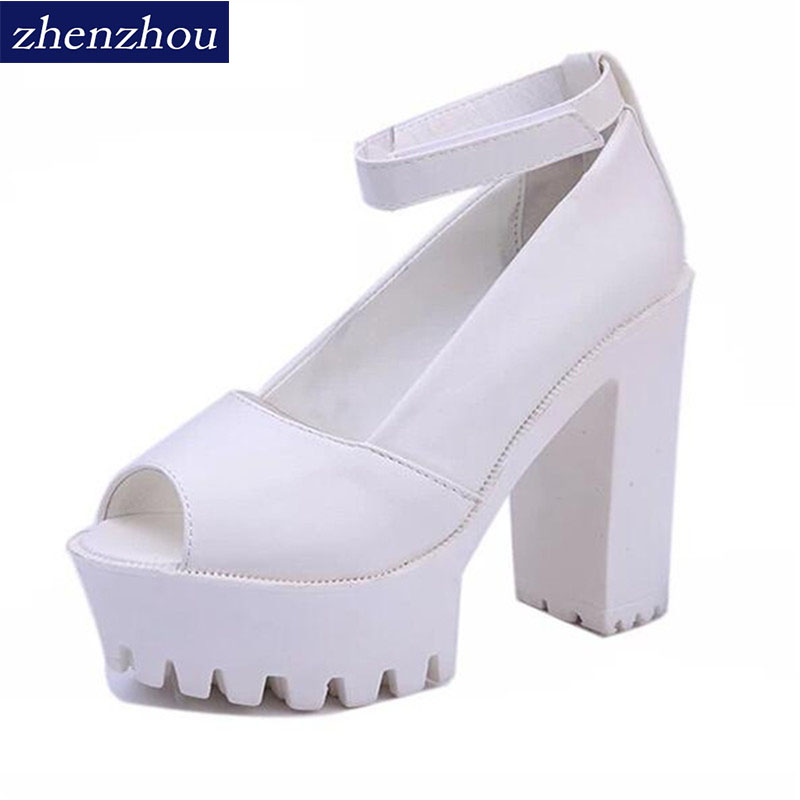 Free shipping 2017 summer style Sexy Open Toe High Heel Sandals Thick Heel Sandals Hasp Fashion Platform Shoes Women High shoes summer causal open toe buckle high heeled thick waterproof platform sandals for women