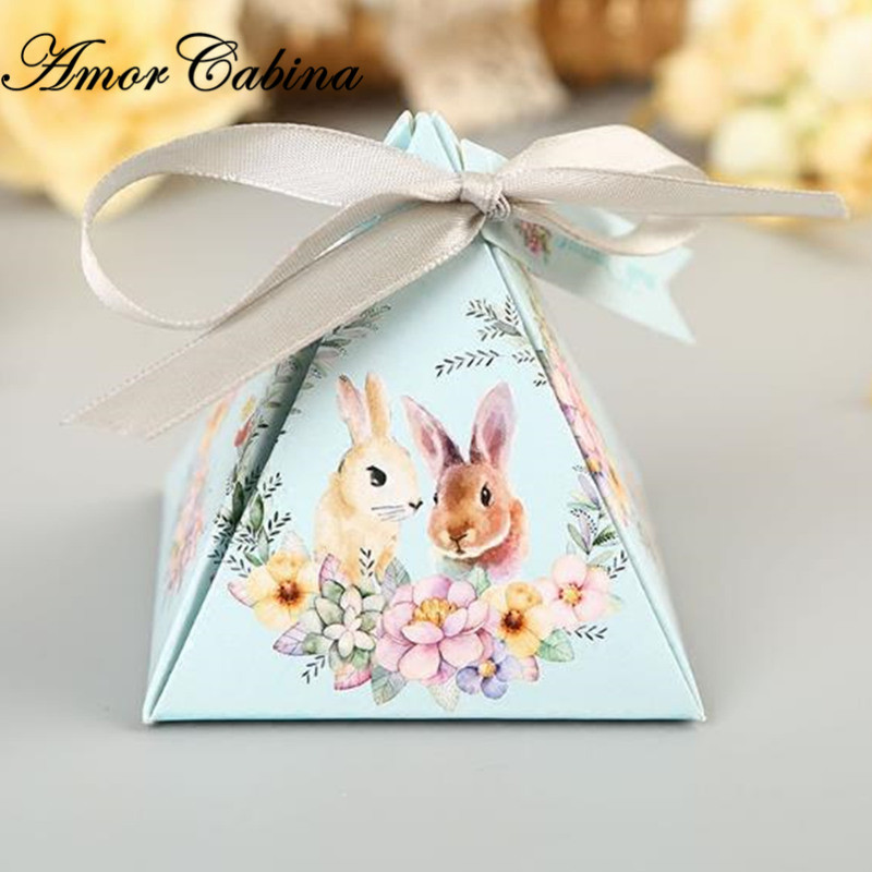 50pcs Pink/blue Sweet Happiness Flower Cute Rabbit Pyramid Wedding Candy Chocolate Box Children Party Gift Box With Ribbon