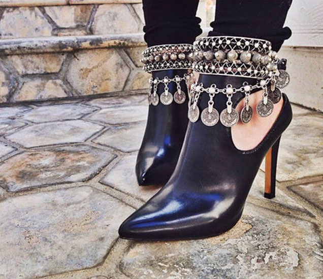 Retro Bohemian Moon Lovers Turkish Coin Silver Antalya Anklet Gypsy Beachy Coachella Tassels vintage Fashion Foot Jewelry