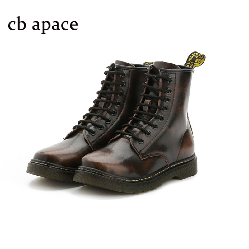 ФОТО Fashion Unisex Genuine Leather Ankle Boots Women Retro Motorcycle Boots Lover Flat With Shoes  High Top Oxfords