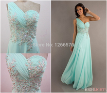 Charming 2014 New Mint Green Crystal Sheer Back Lace Applique Chiffon Formal Evening Dress Prom Gown Cheap QW030