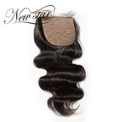 Новая звезда объемная волна Шёлковые подкладки 4x4 свободной части бразильские волос Необработанные натуральный черный для салона