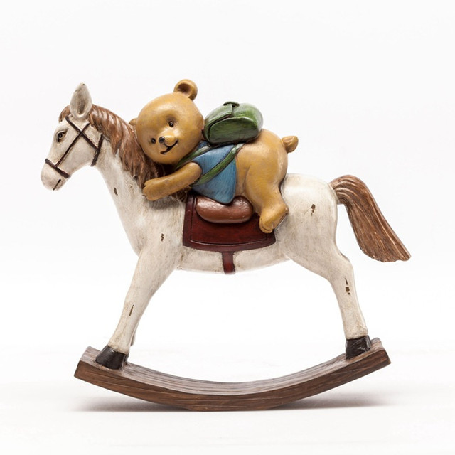 american rural style resin bear rocking horse figurine home