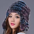 Women Winter Hat Genuine Rex Rabbit Fur Beanies Hat  Casual Striped Knitted Caps 2016 New Russia Fashion Female Caps