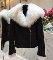 Настоящее Меховая куртка дамы из натуральной овчины кожаные пальто с большой шерсть меховой воротник Для женщин короткий тонкий Мото куртк